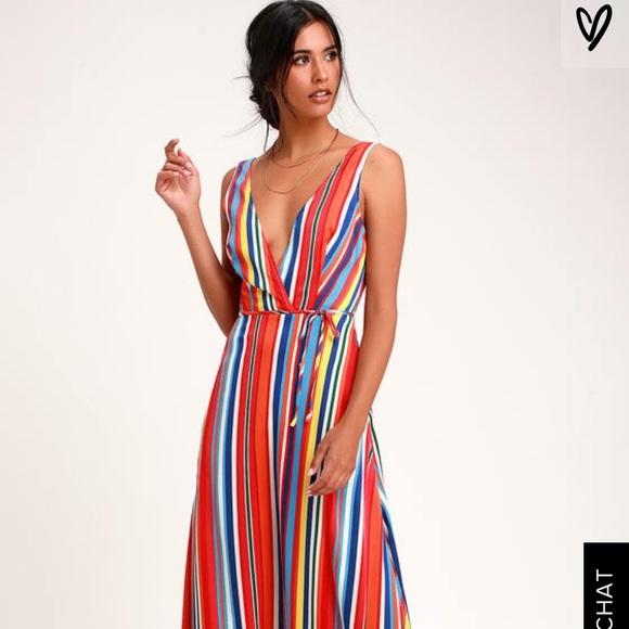 eaee2dff143c Lulu's Dresses | Lulus Eliana Rainbow Stripe Backless Maxi Dress ...